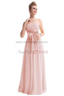 Pink Chiffon Bow long Bridesmaids Dresses Under 150 np-0184