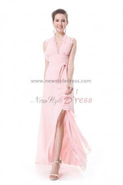 Pink Chiffon Halter Split Front New Style  Prom Dresses np-0194