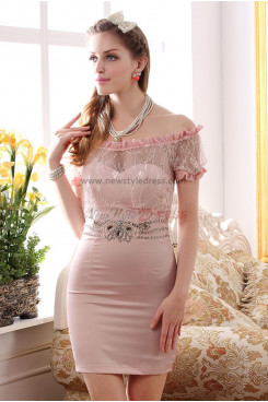Pink/Ivory Off the Shoulder Above Knee Sheath Sexy Prom Dresses nm-0255