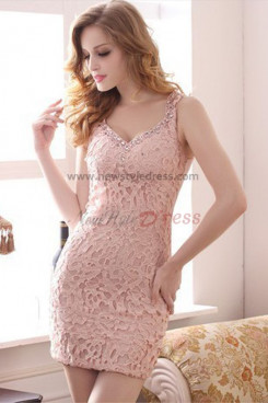 Pink/White Sexy Tank Sheath hip package Crystal Party Dresses nm-0258