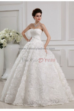 CheapCrystal Handmade flower Chiffon Ball Gown Gorgeous Floor-Length Wedding Dresses nw-0092