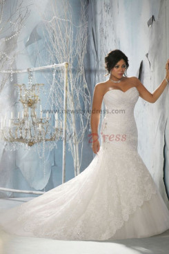Plus Size Sweep Train Sweetheart lace Appliques Glamorous wedding gowns nw-0231