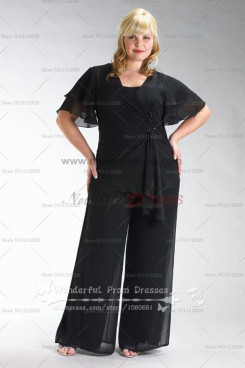Plus Size black Latest Fashion Three Piece mother of the bride dress pants sets nmo-076