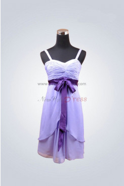 Purple Draped Spaghetti Tiered Zipper-Up Waist with a bow Homecoming dresses nm-0011