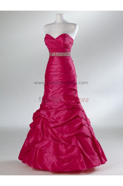 Rose Red and Silver waist Crystal Sweetheart Ball Gown Classic Overall Creases Prom Dresses np-0100