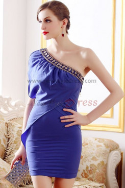 Royal Blue Asymmetry Sheath Above Knee New Arrival Cocktail Dresses nm-0228
