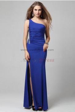 Royal Blue One Shoulder Oblique band Sheath Side slits prom dresses np-0299
