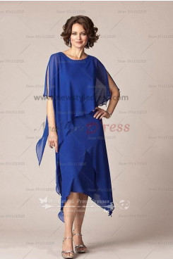Royal blue chiffon Mid-Calf mother of the bride dress cozy suit cms-038