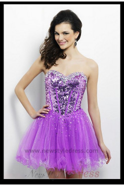 Ruched Sequins Sweetheart Bottom Homecoming Dress nm-0275