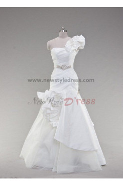 One Shoulder Glamorous Floor-Length Pleat Asymmetry Handmade flower Wedding dresses nw-0020