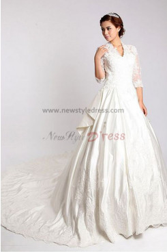 Classic 3/4-length Sleeves Classic Cathedral Train Hand-beading Wedding Dresses nw-0086