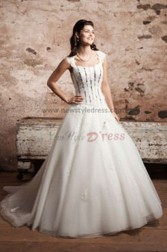 Scoop ball gown Multilayer tulle wedding dress Sashes With lace nw-0246