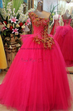Sequins Embroidery Gorgeous Ball Gown One Shoulder Tulle Organza Lace Up Quinceanera Dresses np-0118