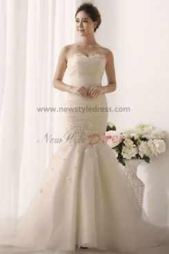 Sheath Mermaid Hot Sale Appliques Elegant Cheap Wedding Gown nw-0166