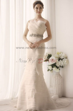 Sheath Strapless Glamorous Ivory Multilayer 20 Inch Train Wedding Dresses nw-0160