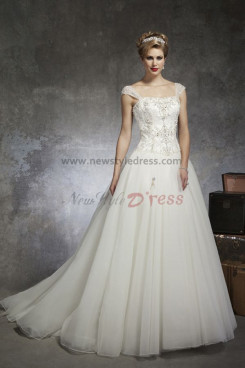 Sheer Straps Scoop Chest Appliques Sweep Train Glamorous Discount wedding dresses nw-0131