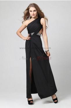 Spring balck Side slits Oblique band Popular prom dresses np-0321