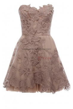 Silver Champagne Gray Appliques Strapless Knee-Length Silver Cocktail Dresses nm-0032