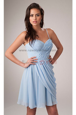 Spaghetti Above Knee Light Sky Blue Sweetheart Draped Cocktail dresses nm-0195