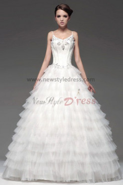 Spaghetti Hand beading Ball Gown Tulle Tiered Wedding Dresses nw-0104