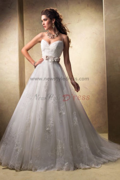 Spaghetti Sweetheart lace Appliques Discount wedding dress Waist With flower nw-0254