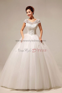 New Style hollow out Short Sleeves Ball Gown Wedding Dresses nw-0076