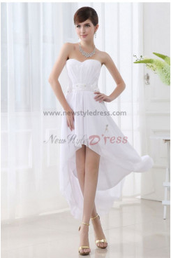 Strapless Chiffon Glamorous White Asymmetry Unique Homecoming Dresses nm-0064