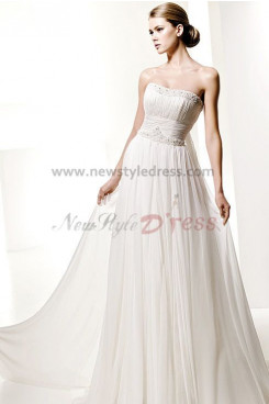 Strapless Glamorous Chiffon Beading Beach Wedding Dress nw-0285