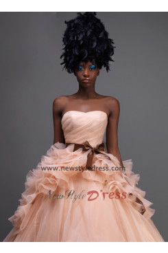Strapless Ruched ball gowns flesh pink Quinceanera Dresses with Brown Sashes nq-010