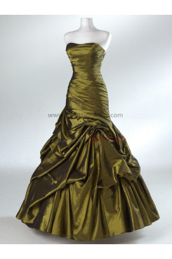 Strapless Satin Ball Gown Glamorous Golden and Fuchsia Classic Ruffles Prom Dresses np-0099
