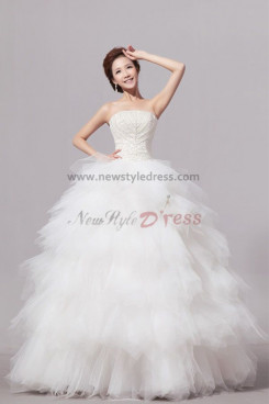 Strapless Tiered Tulle Wedding Dresses Chest With beading nw-0073