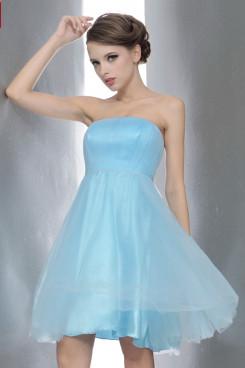 Strapless Tulle Light Sky Blue Short Homecoming Dresses Simple Under 100 nm-0168