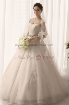 Strapless a line Appliques Sweep Train Wedding Gown Waist With Hand Beading nw-0167
