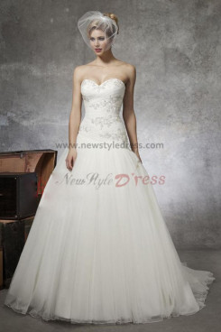 Sweetheart Appliques a-line Princess Cheap Sweep Train wedding dresses nw-0142