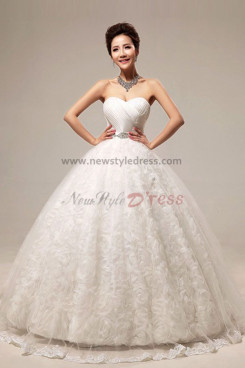 Sweetheart Ball Gown Handmade flower Floor-Length Wedding Dresses wholesale nw-0081