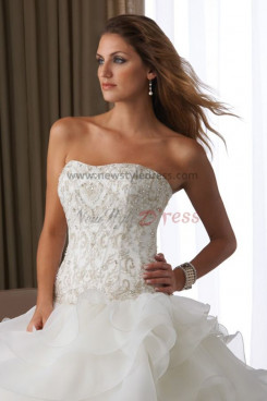 Sweetheart Chest beading Ruched Elegant Chapel Train wedding dress under 200 nw-0121