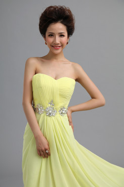 Sweetheart Yellow Chiffon Under 100 Prom Dresses Waist With Glass Drill nm-0175
