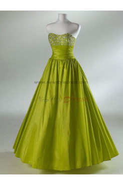 Taffeta Strapless A-Line Simple Ankle-Length Hand-beading Red or Yellow Evening dresses np-0077