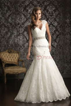 Tank V-neck lace Mermaid Luxurious Chapel Train wedding dress nw-0256