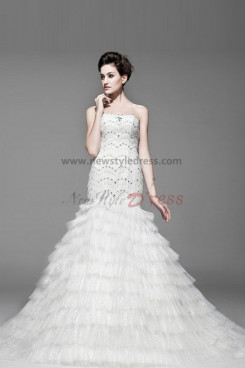 Mermaid Scalloped Tiered Chapel Train Hand beading Discount Wedding Dresses nw-0218