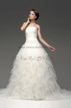 New Arrival Ball Gown Tiered Ruched Tulle Chapel Train Wedding Dresses nw-0107
