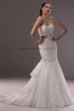 Tiered lace Pattern Mermaid Glamorous wedding dresses with Belt nw-0196