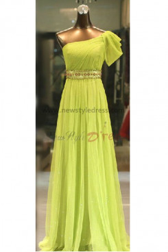 Tulle One Shoulder A-Line Elegant Chest With beading Green Prom Dresses np-0108