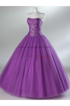 Tulle Strapless A-Line Princess Glamorous Navy blue or Fuchsia Sequins Chest Appliques Ankle-Length Prom Dresses np-0082