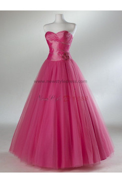 Tulle Sweetheart Princess A-Line Informal red Waist with a bow Ankle-Length Quinceanera Dresses np-0097