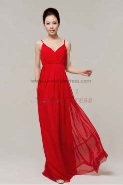 V-neck Empire Draped red Chiffon Spaghetti evening dresses