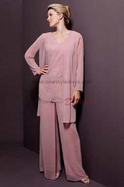 V-neck Pink Chiffon Three Piece pants sets mother of the bride dress nmo-070