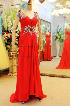 V-neck Tassel Court Train Elegant Hand-beading Crystal Sequins Chiffon Evening Dresses np-0122