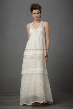 Vintage Bohemian Attractive Informal Embroidered Beading wedding gowns nw-0277