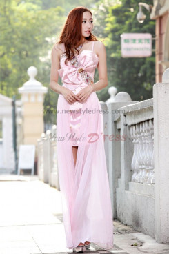 Waist With a bow and Crystal Pink Spaghetti Prom Dresses np-0106